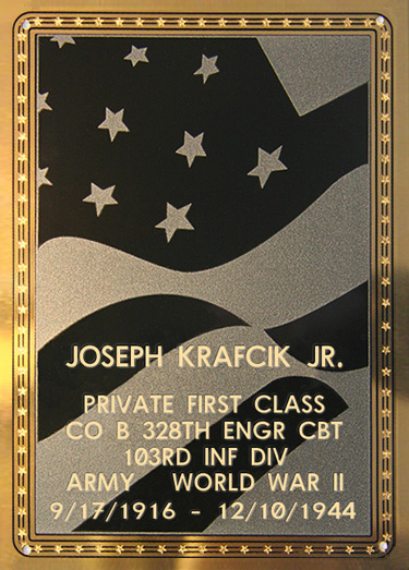 Joseph Krafcik Jr. Plaque
