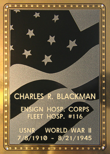 Charles R. Blackman Plaque